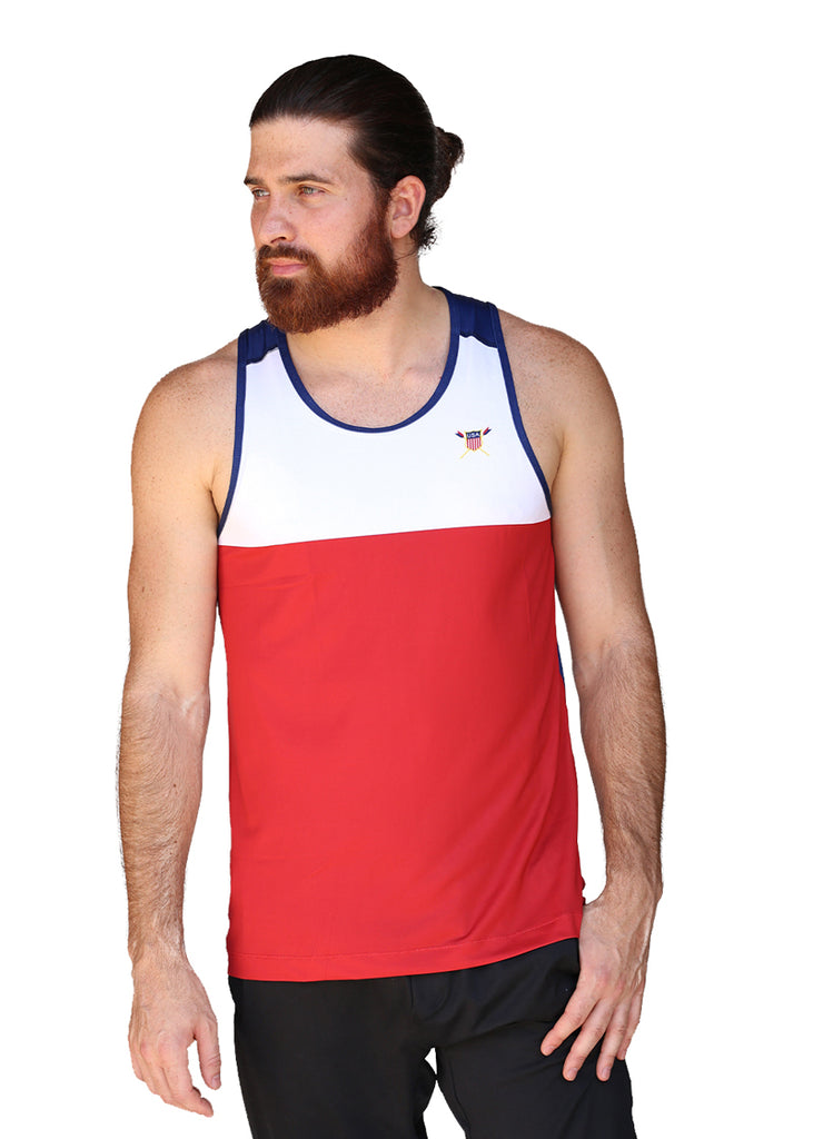 Tech Shirts Technical Shirts Performance Top Performance Tank Workout Top Long Sleeve Short Sleeve Tshirt USRowing Men's Performance Tank Red/White/Blue US Rowing $10-$50, Men's, Tank Tops, Tops $43.95 Size Small  JLAthletics