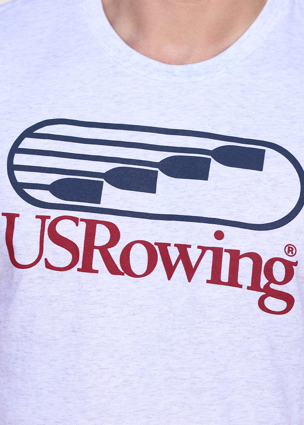 USRowing Men's Short Sleeve Tee Heather White