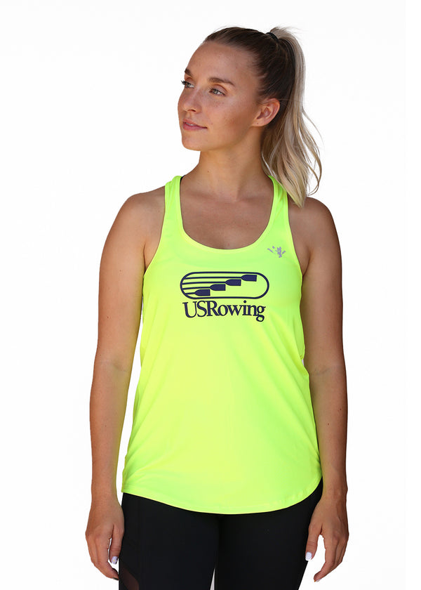 Tech Shirts Technical Shirts Performance Top Performance Tank Workout Top Long Sleeve Short Sleeve Tshirt USRowing Women's Performance Racer Tank Hi-Viz US Rowing $10-$50, Hi-Viz Gear, Tank Tops, Tops, Women's $43.95 Size XSmall  JLAthletics