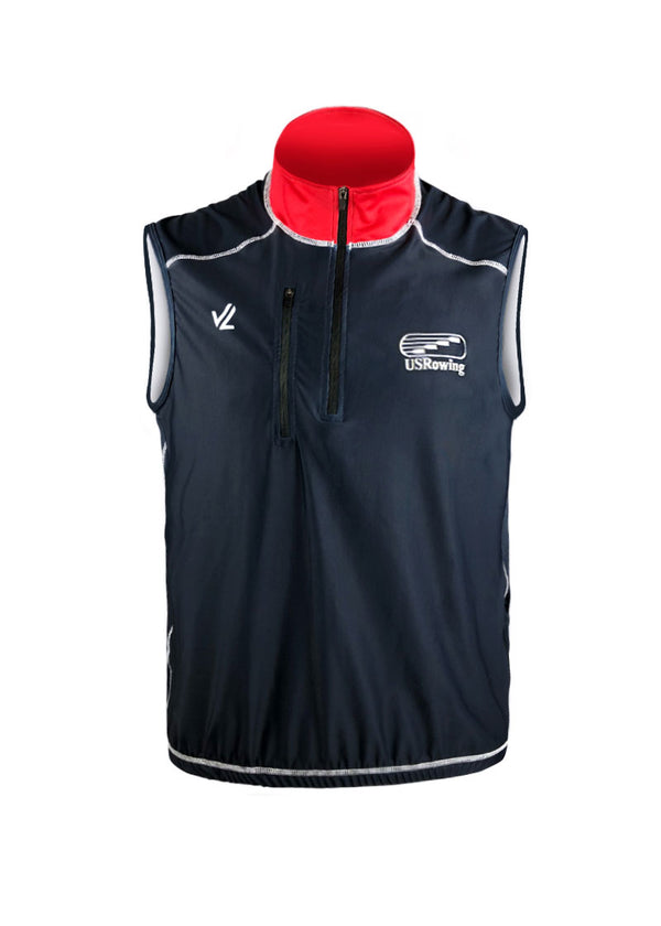 USRowing Men's Midweight Turtleshell Vest Navy Logo