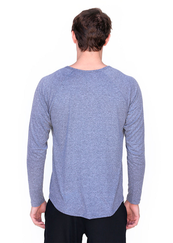 Wild Oar Men's Long Sleeve Henley Tee Grey
