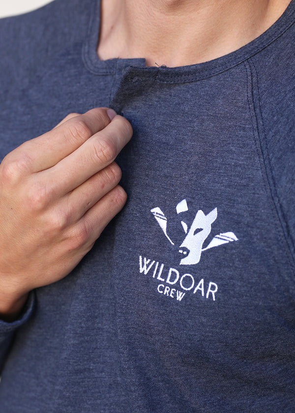Wild Oar Men's Long Sleeve Henley Tee Navy