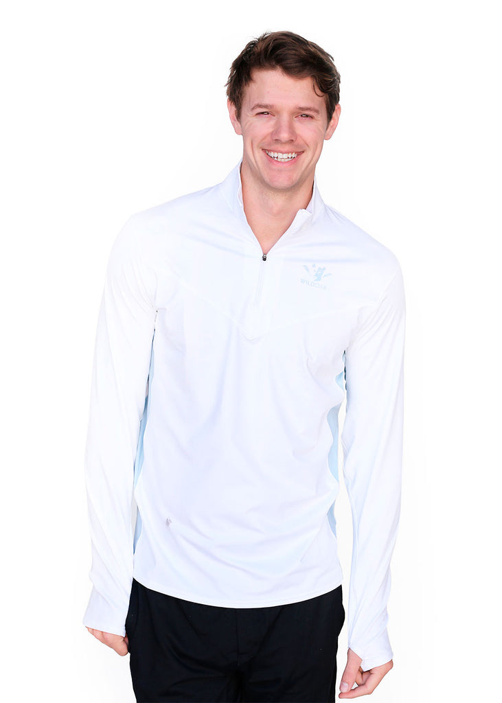 Wild Oar Men's White Pro Panel Quarter Zip