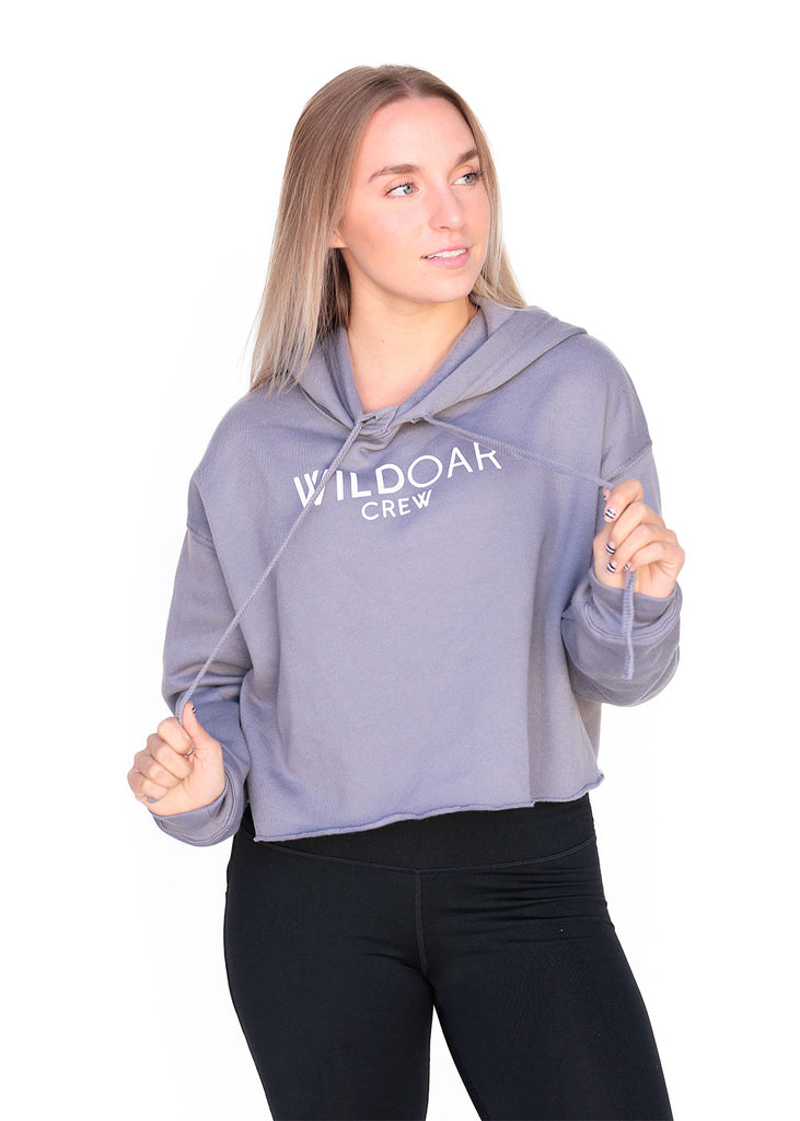 Tech Shirts Technical Shirts Performance Top Performance Tank Workout Top Long Sleeve Short Sleeve Tshirt Wild Oar Women's Crop Hoodie Gray Wild Oar $10-$50, Hoodies + Sweatshirts, Long Sleeve, Outerwear, Tops, Women's $35.00 Size Medium  JLAthletics