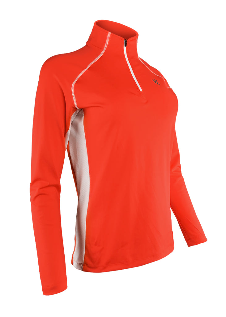 Women's Thermo-light Performance Quarter Zip Coral/White