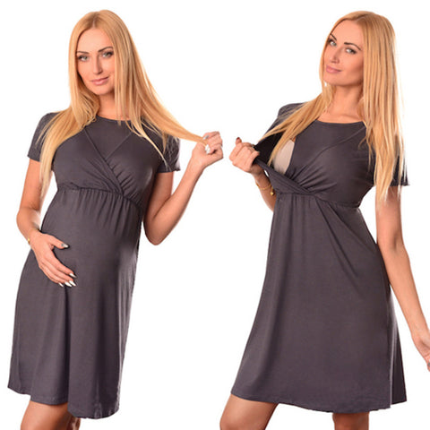 bd8abf0d29e64 Maternity Breastfeeding Dresses Pregnant Women's Short Sleeve Fold Maternity  Dress Comfy Maternity Nursing Cotton Dress Summer