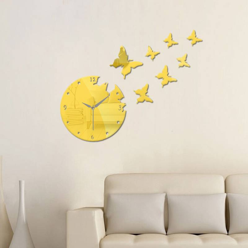 Creative 3D DIY Butterfly Sticker Wall Clock Home Bedroom Decoration Wall  Stickers