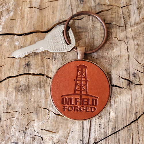 Oilfield Forged Leather Keychain