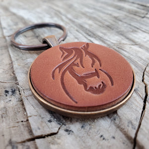 Horse Stamped Leather Keychain