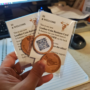 Leather Coin Business Cards with QR code