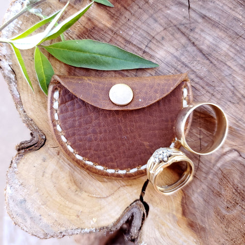 Leather Ring Box Pouch with Snap