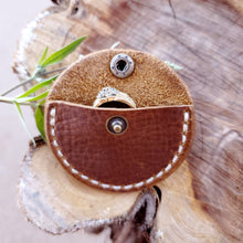 Load image into Gallery viewer, Leather Ring Box Pouch with Snap