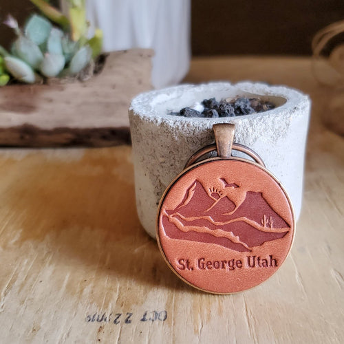 St. George Utah Mountains Leather Keychain