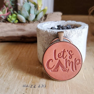 Lets Camp Leather Keychain