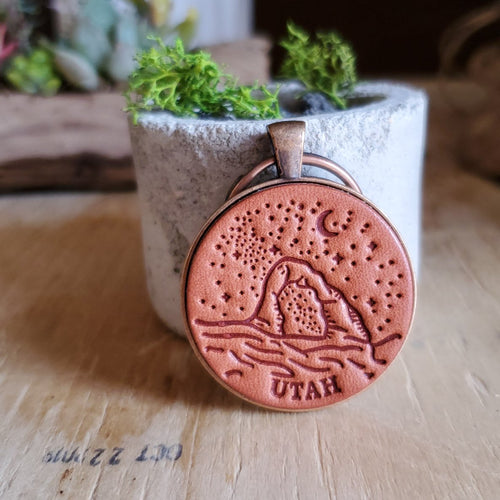Starry Night Utah Arch Leather Keychain