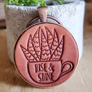 Rise and Shine Aloe Leather Keychain