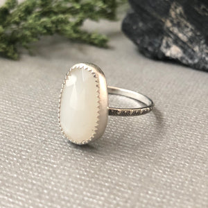 White Moonstone Ring - Size 9