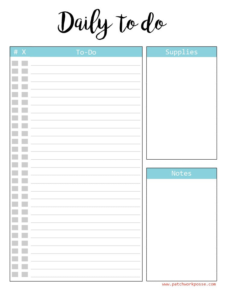 Daily To Do Printable