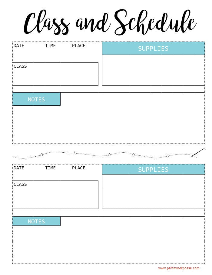 Class List & Schedule Printable