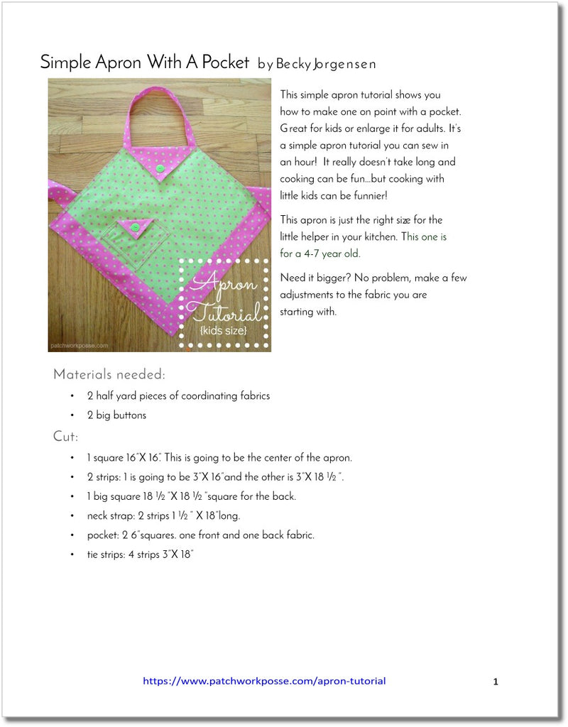 Simple Apron with Pocket - pdf tutorial