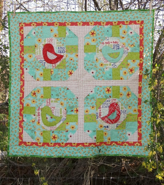 "Early Bird Quilt Pattern. Finished size 37"" square. Simple design with fun bird applique!"
