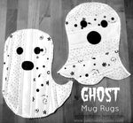 Sew up a simple mug rug in the shape of a ghost! Simple and quick and a great project for Halloween.   The whole process is Quilt As You Go, so when you are done with the ghost, you are done with the mug rug.  #halloween #quiltasyougo #quilting