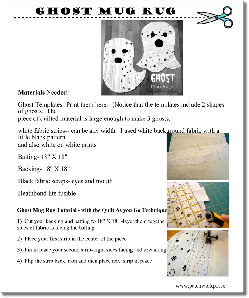 Ghost Mug Rug - pdf tutorial