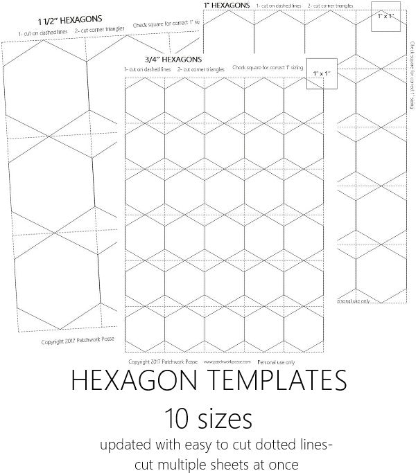 Hexagon Templates Set of 10 - English Paper Piecing