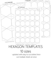 graphic regarding Free Printable English Paper Piecing Templates referred to as Hexagon Templates Mounted of 10 - English Paper Piecing