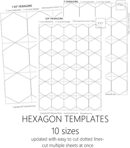 picture about Free Printable English Paper Piecing Templates identified as Hexagon Templates Established of 10 - English Paper Piecing