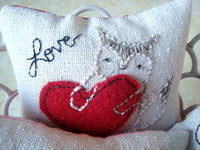 Love Embroidery Mini Pillows