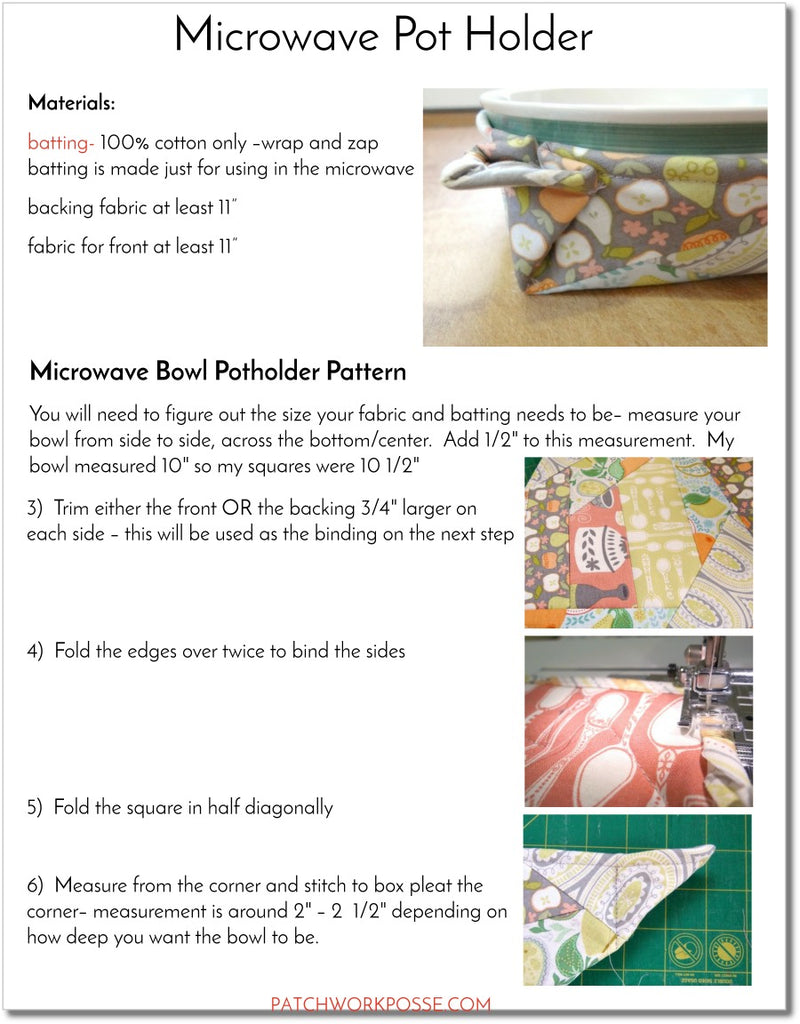 Microwave Potholder - pdf tutorial