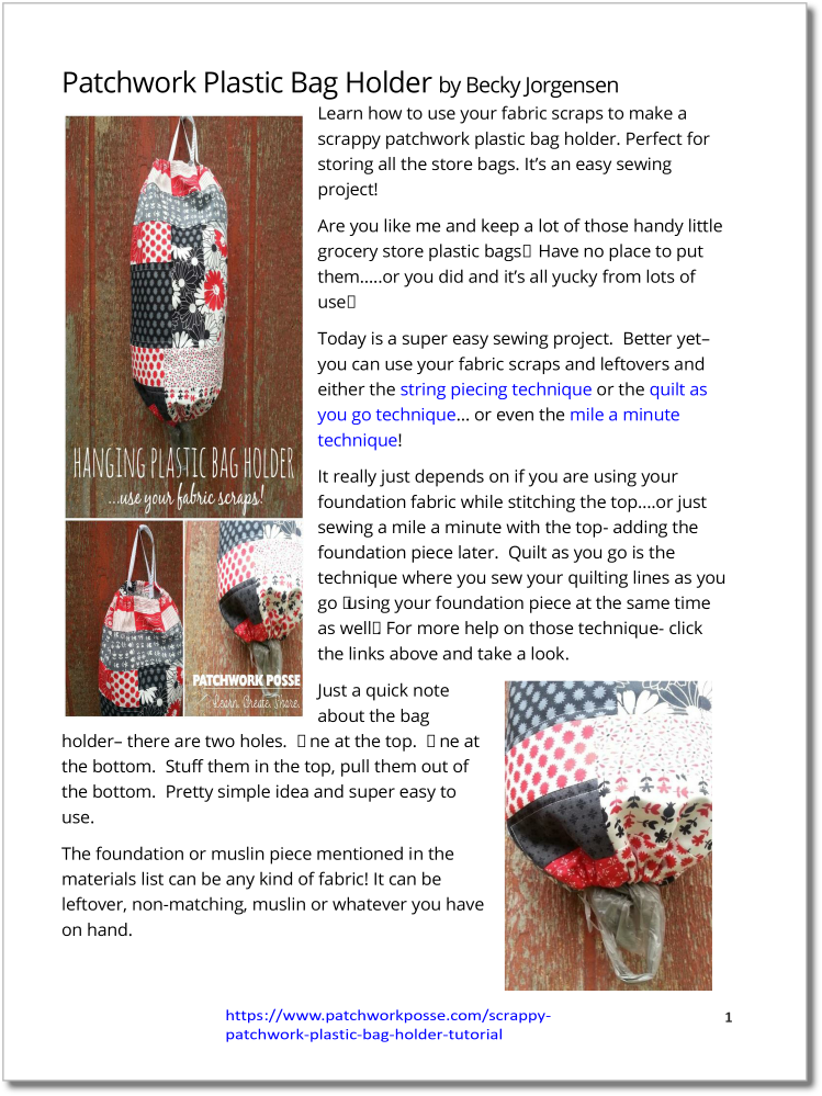 Plastic Bag Holder - pdf tutorial