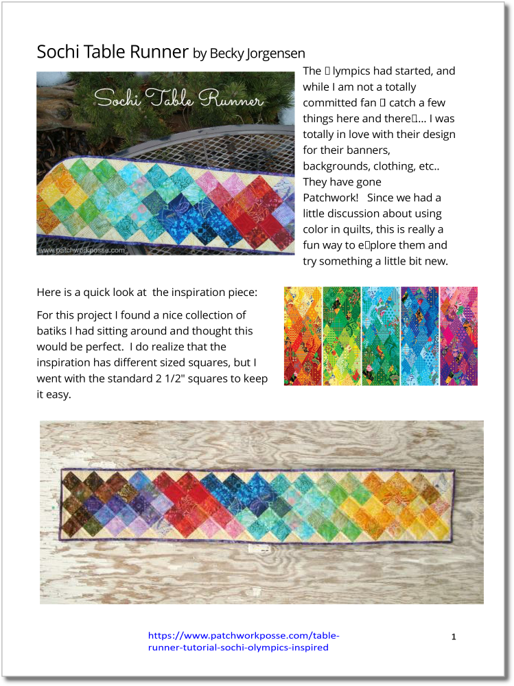 Sochi Table Runner - pdf tutorial