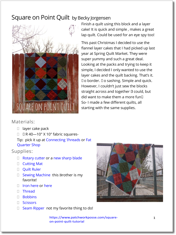 Square on Point Quilt - pdf tutorial