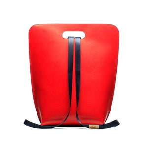limited backpack street art collection in red leather. handmade in Italy
