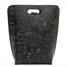 Load image into Gallery viewer, Limited leather backpack whith green hand made serigraphy