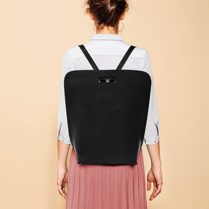 Black leather minimal backpack handmade in italy