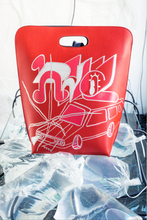 Load image into Gallery viewer, Limited graffiti street art leather bag. instore preview in Milan