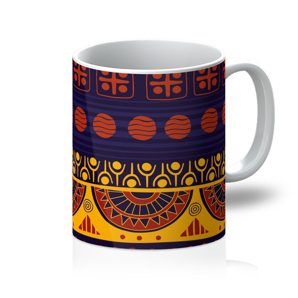 Blue & Yellow Tribal Coffee Mug Homeware 11oz