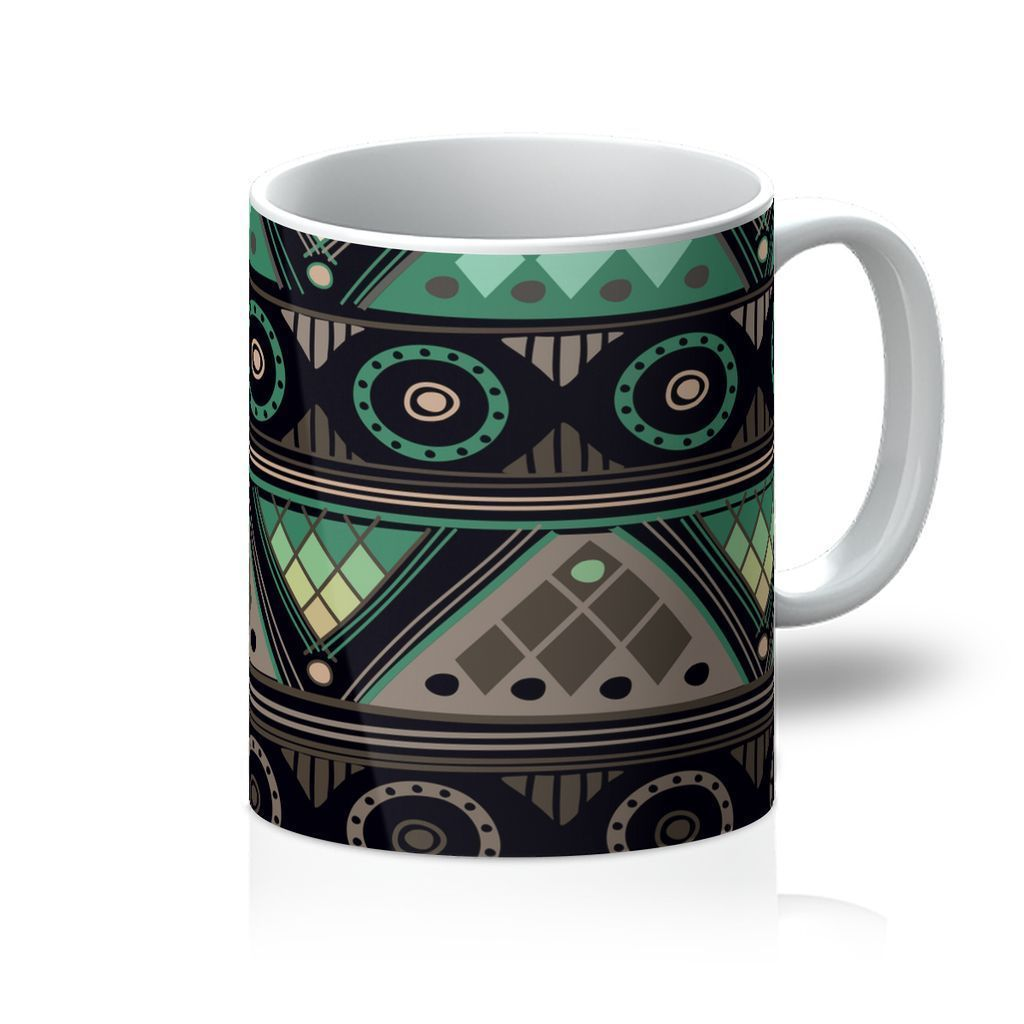 Green Mosaic Coffee Mug Homeware 11oz