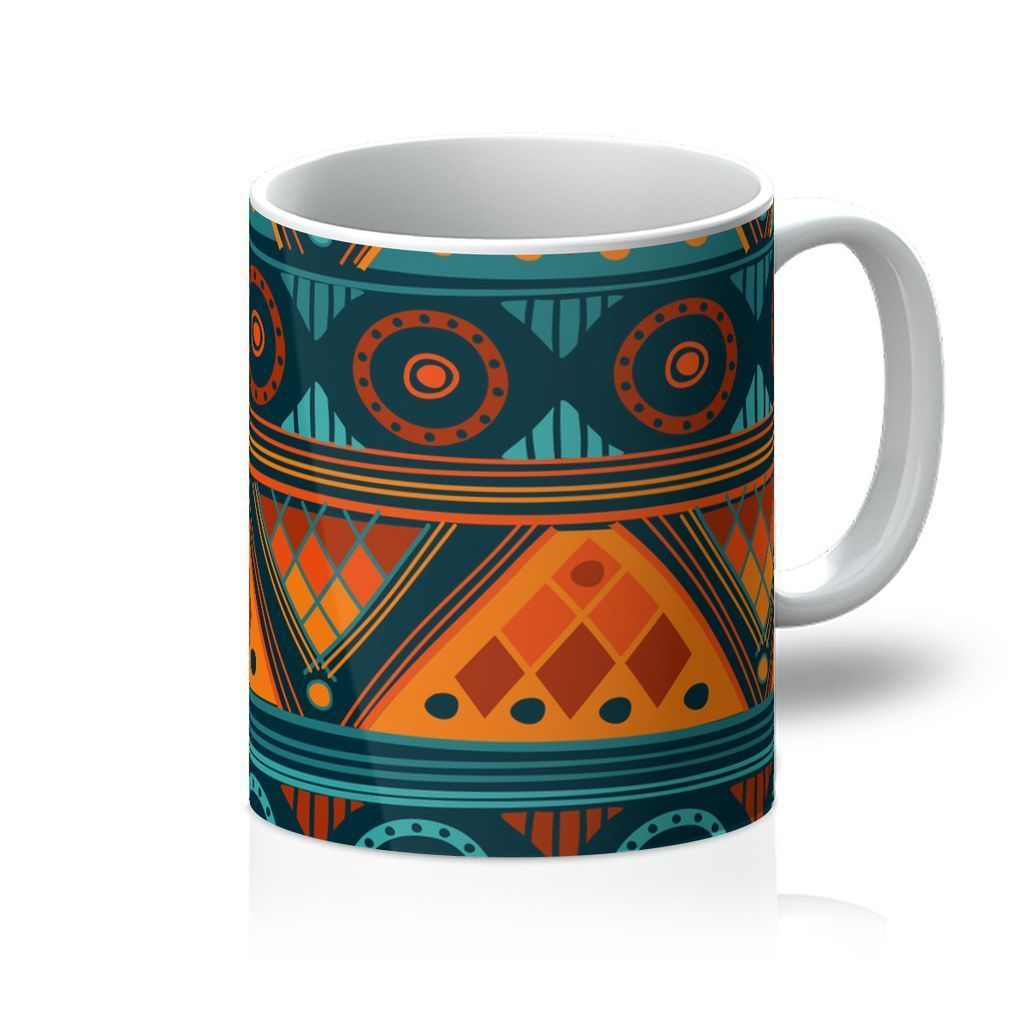 Orange & Blue Mosaic Coffee Mug Homeware 11oz