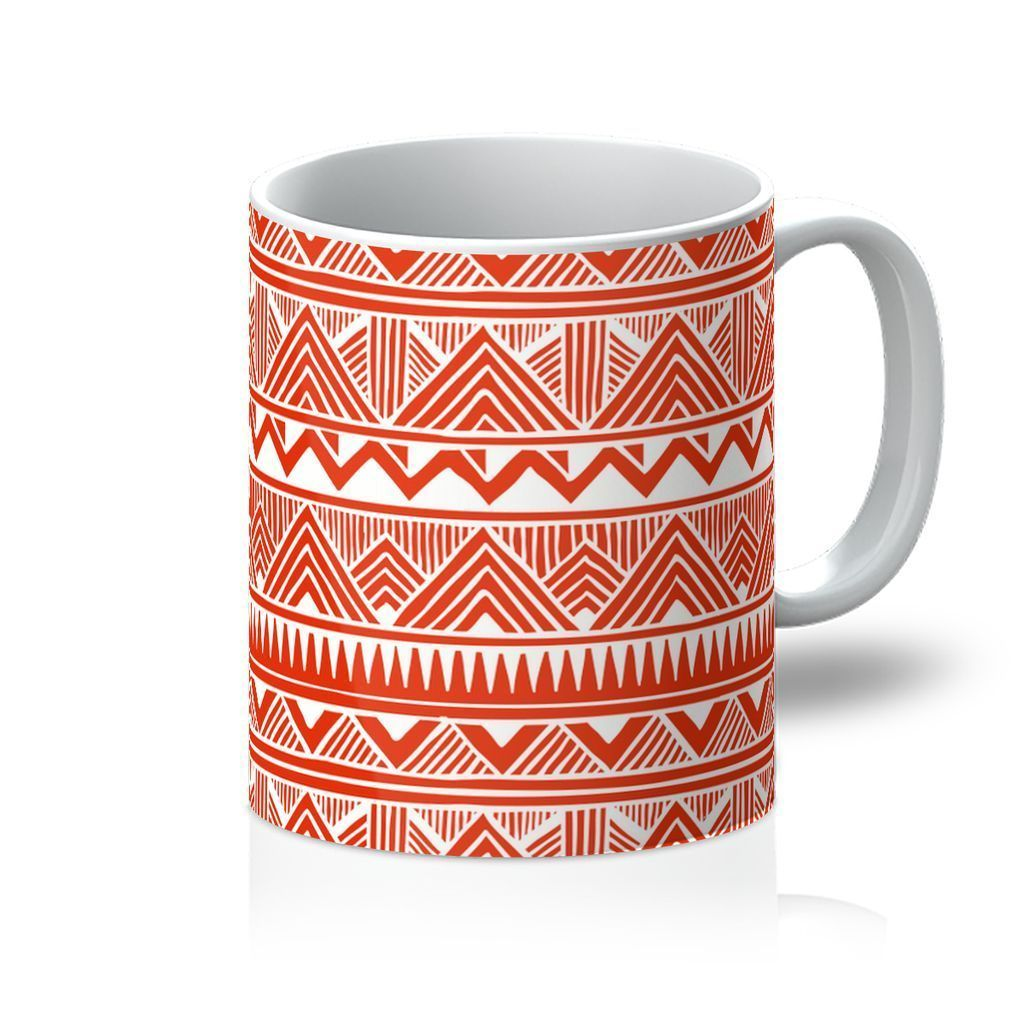 Red Tribal Coffee Mug Homeware 11oz