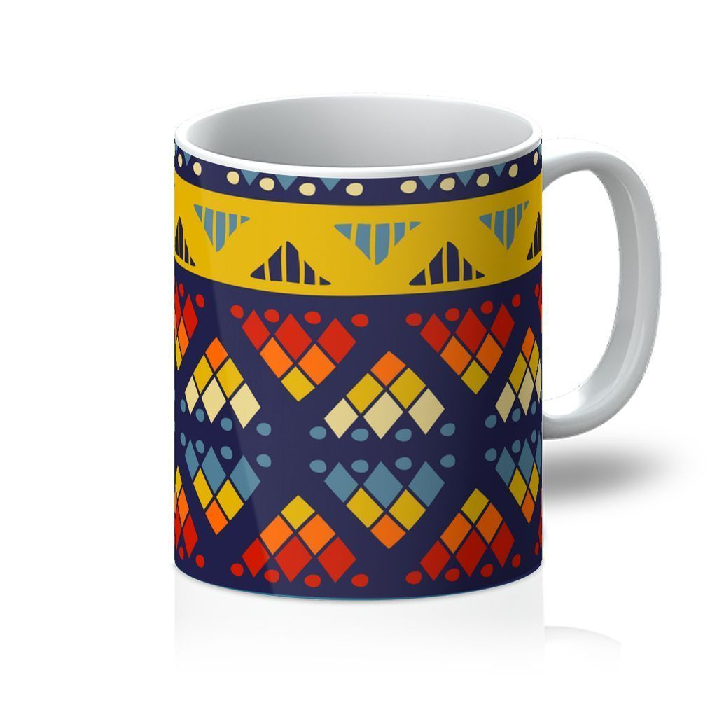 Yellow & Blue Mosaic Coffee Mug Homeware 11oz