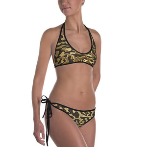 Luxury Gold- Leopard Bikini Black / XS