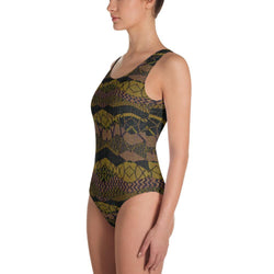 Crocodile Green One-Piece Swimsuit XS