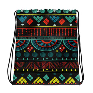 Aqua Tribal Drawstring Bag Default Title