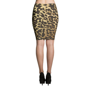 Luxury Gold- Leopard Pencil Skirt