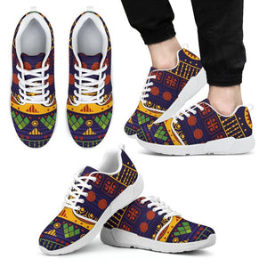 Blue & Yellow Tribal Men's Sneakers Men's Athletic Sneakers - White - W / US5 (EU38)