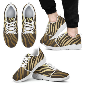 Luxury Gold- Tiger Men's Sneakers Men's Athletic Sneakers - White - W / US5 (EU38)